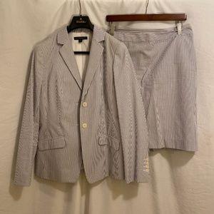 Blue Brooks Brothers Seersucker Skirt Suit